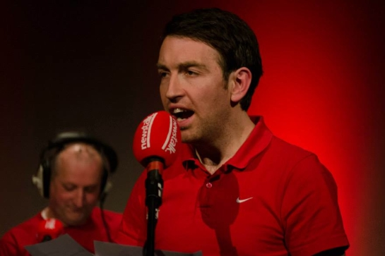 Colm O'Regan, with host Pat O'Mahony in the background.